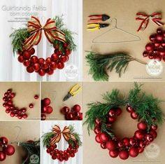 DIY Wire Hanger Christmas Ornament Wreath