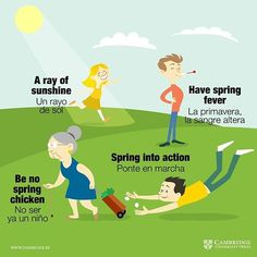 Hay muchos #idioms relacionados con la primavera. De estos cuatro que os presentamos, hay uno que funciona con otra acepción de 'Spring'. ¿Sabrías decirnos cuál? #Aprendeinglés #Cambridge #vocabulary #englishisfun #englishclass #vocabulary #vocabulary #englishisfun #cambridgeuniversitypress #englishclass #vocabulary #learnenglish #englishlanguage #englishisfun #englishvocabulary