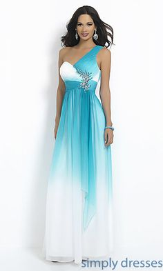 One Shoulder Ombre Prom Dress by Blush at SimplyDresses.com