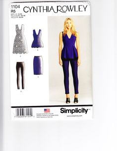 SIMPLICITY 1104 - FROM 2015 - UNCUT - MISSES DRESS, TUNIC, SKIRT & TROUSERS