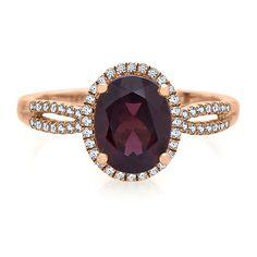Rhodolite Garnet & 1/5 ct. tw. Diamond Ring in 10K Rose Gold