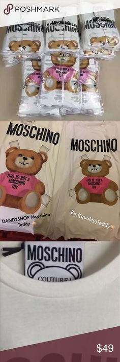 MOSCHINO TEDDY Tee Restock 7/12 PRE-Order now on Poshmark ♥️ Limited quantities available and shipping will resume after vacation hold!   Sizes available (XXS-M)   New Sizing Guide / 2 Styles now available!  Women's fitted Teddy OR Oversized Teddy!   For sizing inquiry please email dandyshop17@gmail.com  Also checkout our online catalog - dandyshop17.shopify.com for additional listings! Moschino Tops Tees - Short Sleeve