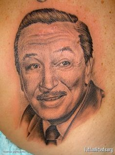 Walt Disney portrait by Andrew Sussman Weird Tattoos, Cool Tattoos, Awesome Tattoos, Inked Magazine, Through The Looking Glass, Disney Tattoos, What's Trending, Skin Art, Just Amazing