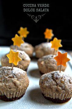 Muffin all'arancia candita con base croccante di nocciole e cacao