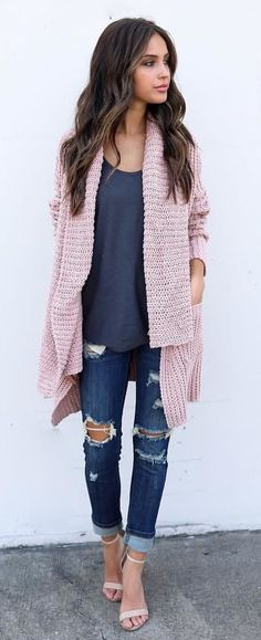#fall #outfits Pink Knit Cardigan + Dark Tank + Destroyed Jeans