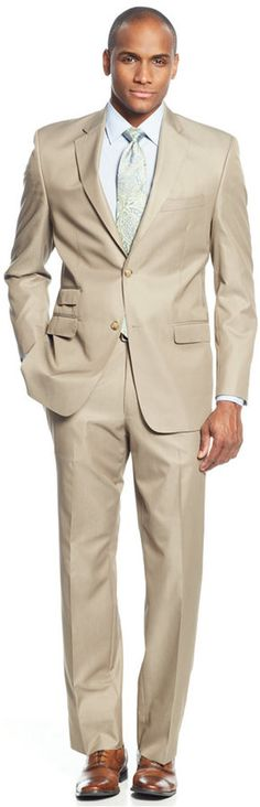 Sean John Big and Tall Classic-Fit Tan Solid Suit