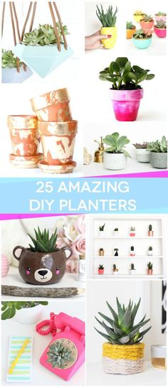 These planters are all so beautiful! They'd be perfect for your succulent garden. Click through for the full tutorials.