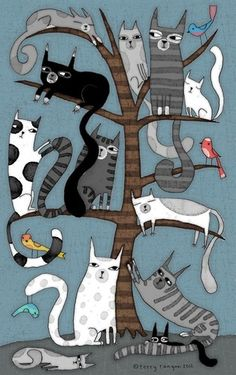 'CAT TREE' Metal Print by Terry Runyan - illustrations that inspire me - Cats I Love Cats, Crazy Cats, Cool Cats, Art Fantaisiste, Cat Quilt, Cat Tree, Cat Drawing, Drawings Of Cats, House Drawing