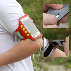 LED Sports Armband Case Pouch for iPhone 5S 5 5C 4S 4  Back of the armband has precise holes for earphone jack; can enjoy music when taking exercises