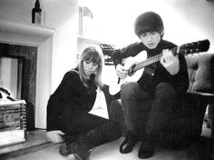 "March 1964. Friend and Beatles inspiration, Astrid Kirchherr joins the group for a photo assignment during the making of ""A Hard Day's Night"". While in the UK she stayed at the same Green Street flat as George and Ringo."