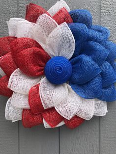 Items similar to Americana wreath Sunflower Red white and Blue on Etsy Burlap Flower Wreaths, Sunflower Wreaths, Deco Mesh Wreaths, Ribbon Wreaths, Yarn Wreaths, Floral Wreaths, Jute Flowers, Wreath Burlap, Mesh Ribbon