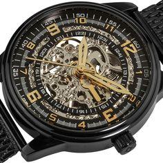 Akribos XXIV 'Saturnos Elite' Men's Stainless-Steel Skeleton Automatic Watch | Overstock.com Shopping - The Best Deals on Akribos XXIV Men's Watches