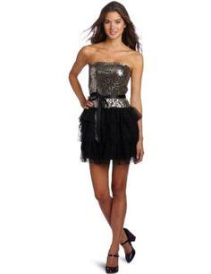As U Wish Juniors Sequin Bodice Drop Waist Tiered Dress   Fun high-low hems and vibrant sash belts  Cute Dress!!  #prom #dress #fashion