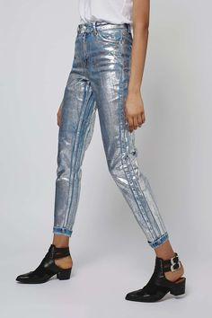 MOTO Silver Foil Mom Jeans