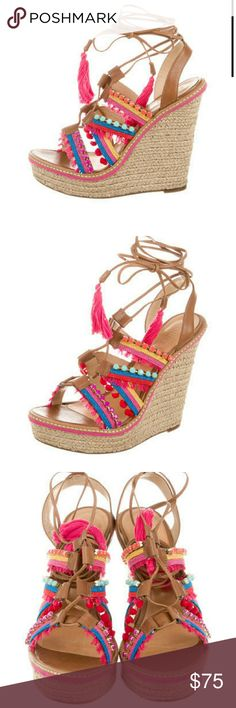 Schutz Pink Multi Colored Wedge Sandals 10 9 Worn once in excellent condition.  No box or dustbag.  Marked a size 10 but fits like a 9. SCHUTZ Shoes Wedges