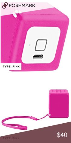 Quickcell Wireless Bluetooth Speakers Quickcell Wireless Bluetooth Sound Cube Portable Speaker, Pink in Color,  3 Watts of output, play for up to 4 hours on a single charge, rubberized shell,  built-in microphone to accommodate hands-free calling.  Compatible with Bluetooth devices 3 watts of output power Supports battery level indicator on iOS devices Small size makes it perfect for travel Rubberized-shell gives the unit extra protection Built-in microphone allows for hands-free call…