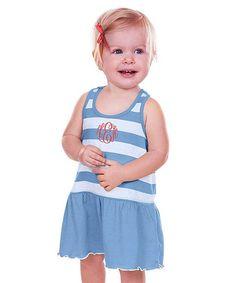 Azure & White Stripe Monogram Dress - Infant Toddler & Girls