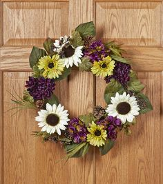 Fall Wreath | Fall For All Sunflower Daisy Mum Hydrangea Berry & Pinecone Wreath