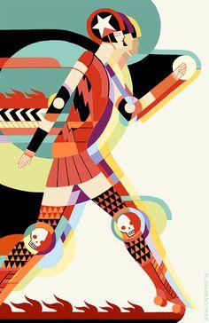 """Roller Deco"" - A Giclée Print by Kali Ciesemier"