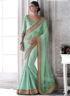 Mint Green Georgette On Net Saree