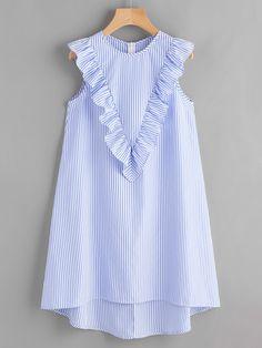 Zip Back Ruffle Yoke Striped Dress BLUE