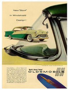 "1954 Oldsmobile: ""New Slant in Windshield Design! World's Record Oldsmobile ""Rocket"" 88 and 98."" The aircraft-inspired panoramic or wraparound windshield was de rigueur in American automobiles of the mid-1950s to early-1960s despite the blind spot and knee-knocking hazard caused by the dogleg pillar and the distortion of the wrapped glass. Although it worked better in aviation's plexiglass canopies, the design cue lasted until the mid to late '60s at Chrysler."