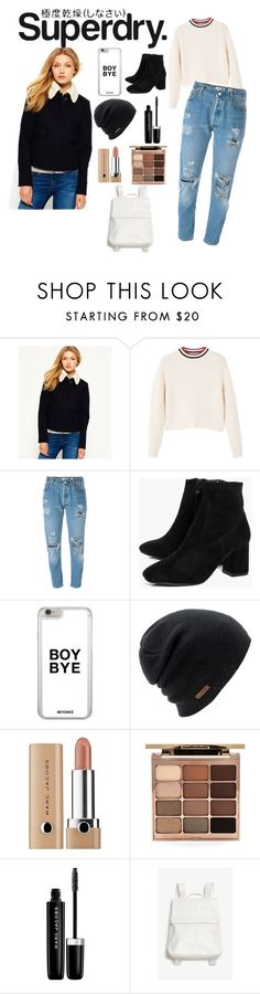 """""""The Cover Up – Jackets by Superdry: Contest Entry"""" by alyssaxoxo-22 ❤ liked on Polyvore featuring Superdry, MANGO, RE/DONE, Boohoo, Coal, Stila, Marc Jacobs and Monki"""