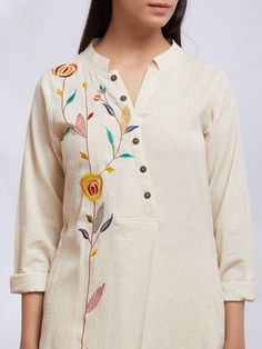 Off White Embroidered Kurta with Pants - Set of 2 Embroidery Suits Punjabi, Embroidery On Kurtis, Kurti Embroidery Design, Hand Embroidery Dress, Embroidery On Clothes, Embroidered Clothes, Embroidery Fashion, Couture Embroidery, Designs For Dresses