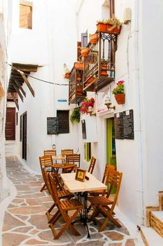 Alley in Naxos Island, Cyclades, Greece Architecture Life, Mediterranean Architecture, Mykonos, Santorini, Naxos Greece, Travel Around The World, Around The Worlds, Greek Beauty, Greek Isles