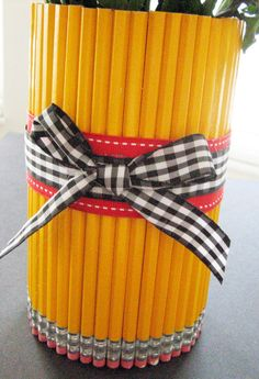 Pencil Vase with Ribbon and Bow. Great for Teacher Appreciation Week! Pencil Vase with Ribbon and Bow. Great for Teacher Appreciation Week! Teacher Retirement Parties, College Graduation Parties, Kindergarten Graduation, Graduation Celebration, Grad Parties, Graduation Gifts, Graduation Ideas, Retirement Ideas, Retirement Cakes