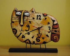 Cat clock - desk clock - designer clock - table clock - paper mache