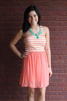 $32.00 Peach/White Chevron Strapless Dress