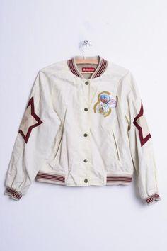 Big Star Womens L Bomber Jacket Cream Leather Patches Baseball Jacket Top - RetrospectClothes