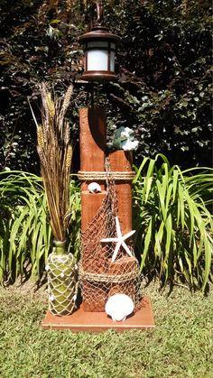 Wooden solar garden lights garden farm outdoor rooster for Nautical themed backyard