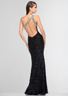 Scala 47541 Sequin Evening Gown - Open Back Black Sequin Evening Gown