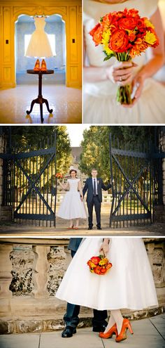 A pop of bold color!! LOVE!! ♥ Fall Retro Mansion Wedding in Colorado vintage-halloween-themed-mansion-wedding-1 – WeddingWire: The Blog