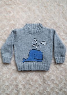 This is my basic sweater pattern with a Blue Whale on the front. I recommend you intarsia the blue and swiss darn the black and white.This pattern comes with written instructions and Blue Whale chart. Baby Boy Knitting Patterns, Baby Cardigan Knitting Pattern, Knitting Charts, Knitting For Kids, Creative Knitting, Knitting Kits, Knit Patterns, Pixel Crochet Blanket, Crochet Blankets