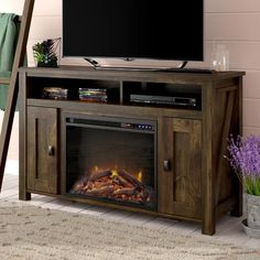 Mistana Whittier TV Stand for TVs up to 50 inches with Electric Fireplace Included Color: Rustic Home, Flat Panel Tv, Entertainment Center, Furniture, Fireplace Tv Stand, Tv Stand, Blue Tv Stand, Fireplace Inserts, Fireplace