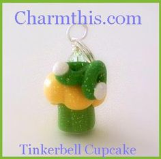 Polymer Clay Tinkerbell Inspired Cupcake by CharmthisClayCharms, $3.00