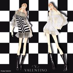 Monochrome state of my mind!!! @maisonvalentino fw 15.16! ️illustration by #franiorio #maisonvalentino #valentino #monochrome #cultureofcouture