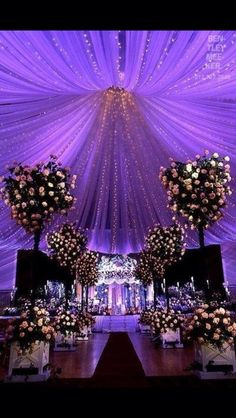 Indoor purple wedding decor
