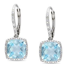 Miadora Sterling Silver 8 1/2 ct TGW Blue Topaz and 1/5 ct TDW Earrings (G-H, I3)