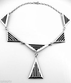 1950s 60s JACK NUTTING Modernist TRIANGLES Sterling Silver NECKLACE