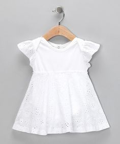 sew eyelet material to a onesie, turn it into a cute Sunday dress! Yes please!