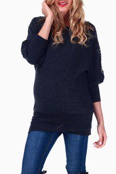 Charcoal Crochet Sleeve Maternity Sweater #maternity #fashion