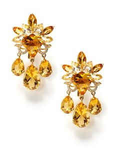 Piranesi   Citrine & Diamond Floral Chandelier Earrings