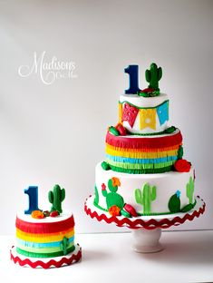 Fiesta cake with matching smash cake. First Fiesta cake with matching smash cake. Mexican Themed Cakes, Mexican Fiesta Cake, Mexican Fiesta Birthday Party, Fiesta Theme Party, Mexican Cakes, First Birthday Cakes, Boy Birthday Parties, 2nd Birthday, Birthday Ideas