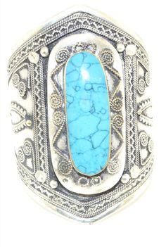 Blue Turquoise Stone Gypsy Cuff