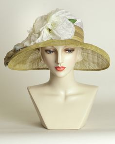 Amy, white/pistachio, parisisal crown & sinamay brim hat with vintage flowers & ribbon