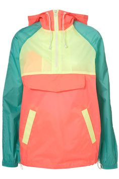 neon color block parka